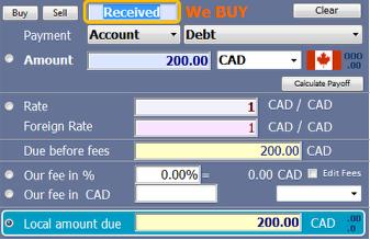 Receive into Debt Account