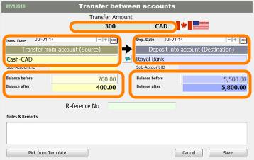 Input account transfer information