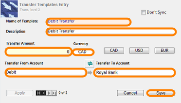 Creating a New Transfer Template