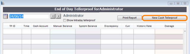 To log the cash currently in your till you must create a new cash tellerproof.