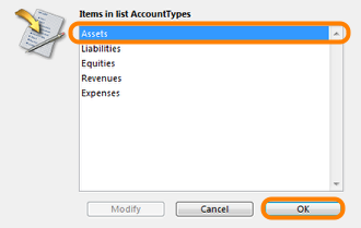 A list of account types will appear.