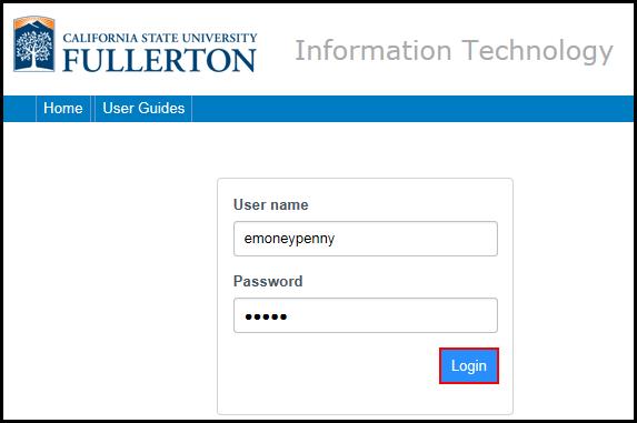 IT Service Desk login screen