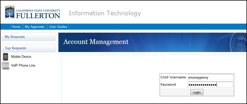 Account Management login screen