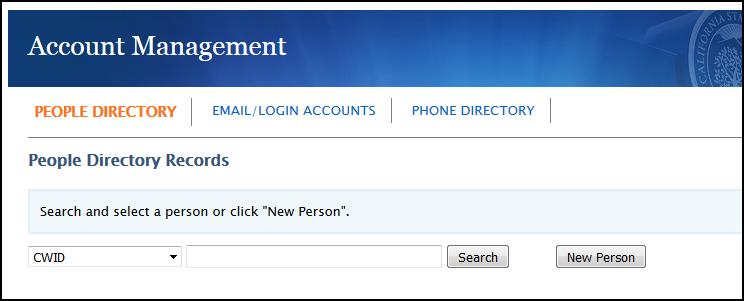 Account Management main screen