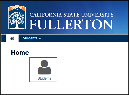 TDA homepage with Students icon highlighted in red
