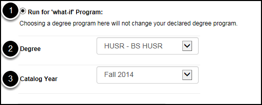 Step 1: the Run for what-if Program is selected; Step 2: the degree has been selected from the drop-down list; Step 3: the catalog year has been selected from the drop-down list