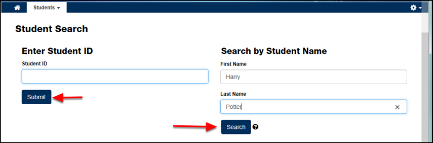 Student Search screen with first name and last name populated on the right; arrows point to the Submit button on the left and the Search button on the right