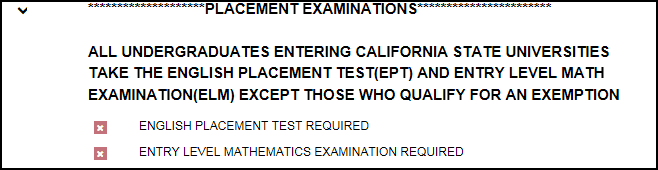 Placement Evaluations status section