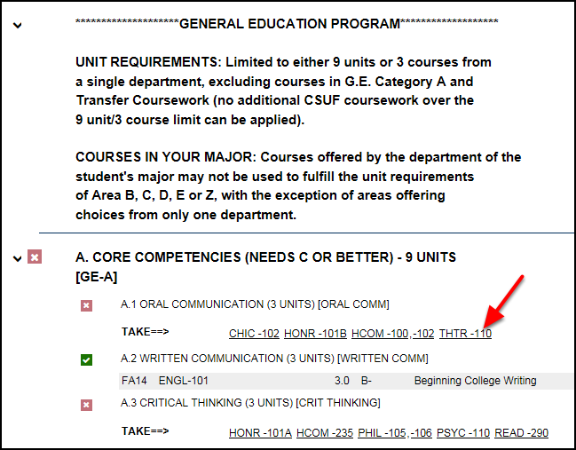 General Education Program with red arrow pointing to a course ID in a missing requirement section