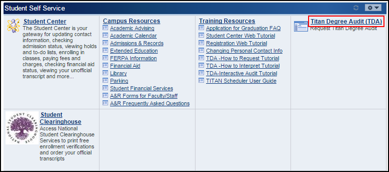 Student Self Service section of Titan Online with Titan Degree Audit link highlighted on right.