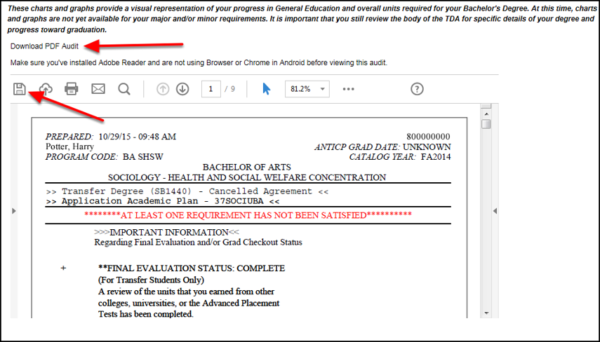 PDF of TDA with red arrows pointing to the Download PDF Audit link above the preview and the Adobe save icon in the PDF preview
