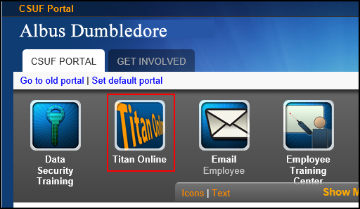 Main portal page with Titan Online icon highlighted