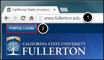 Step 1: open browser to www.fullerton.edu; Step 2: click on Portal Login button