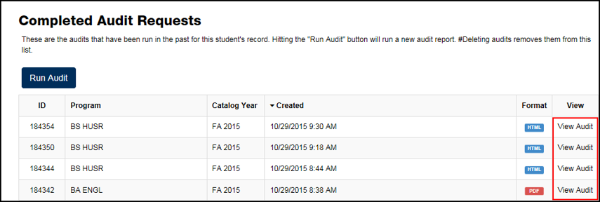 Completed Audit Requests screen with View Audit links on the right highlighted