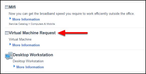 Select Virtual Machine Request.