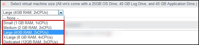 Select the Virtual Machine Size.