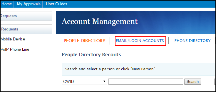 Account Management main screen