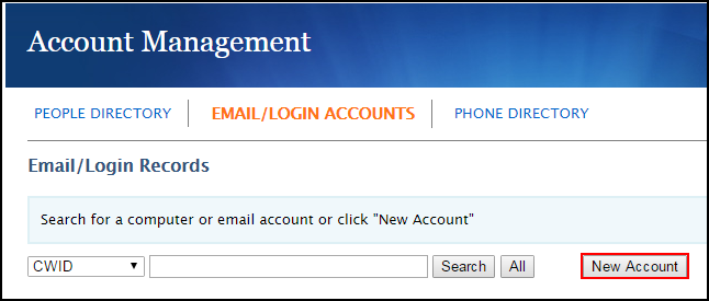 Email/Login Accounts screen