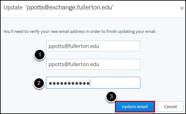 Update email screen