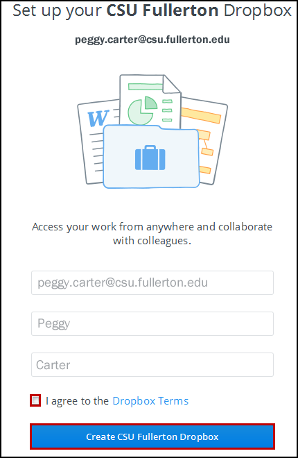 Set up Dropbox for Business screen