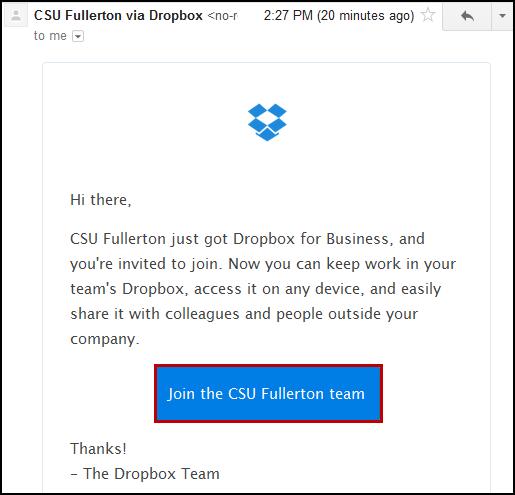 CSU Fullerton Dropbox for Business invitation email