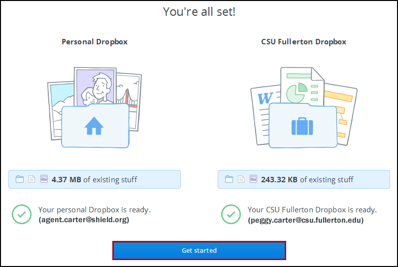 Dropbox completion screen