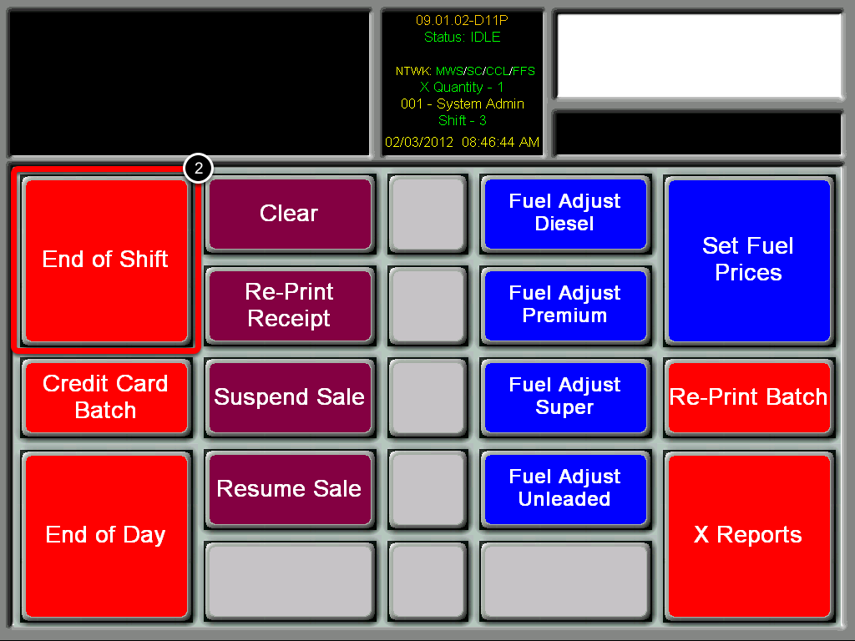Select End of Shift