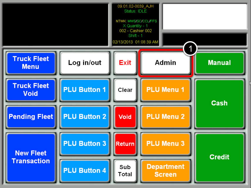 Select the Admin Button