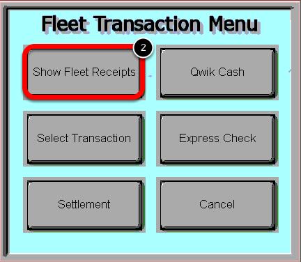 Select the Show Fleet Receipts Button
