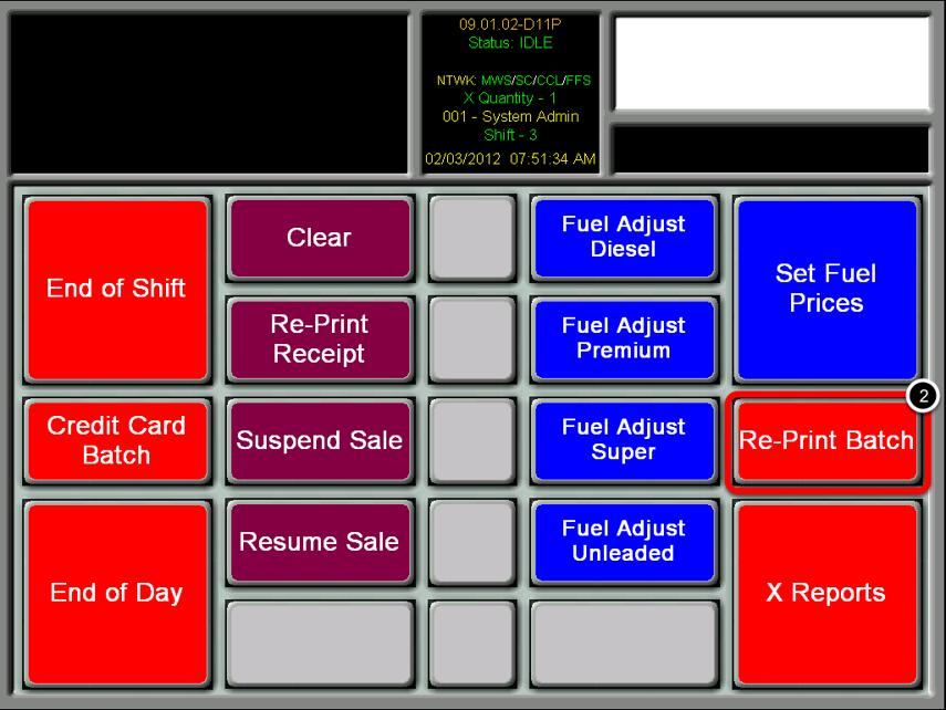 Select the Re-Print Batch Button