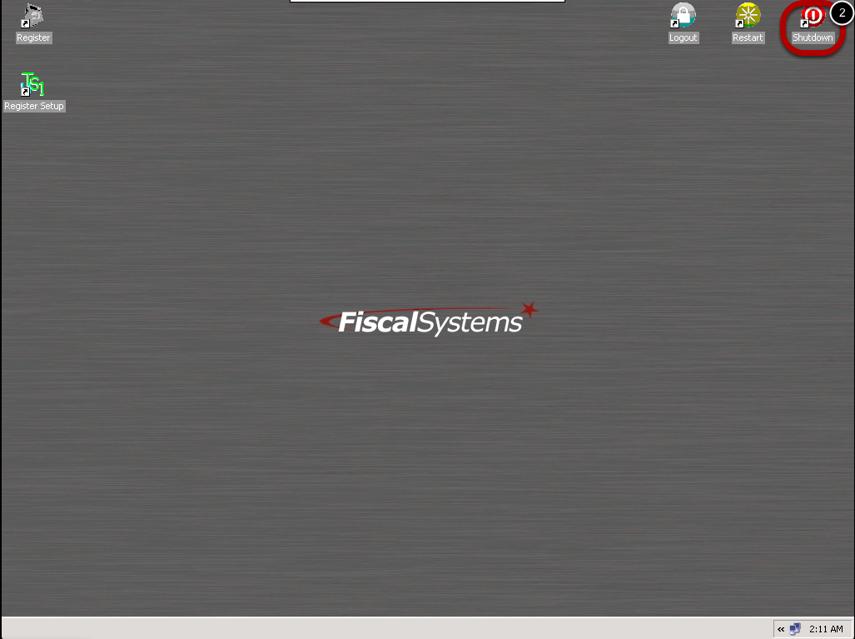 Select the Shutdown Icon