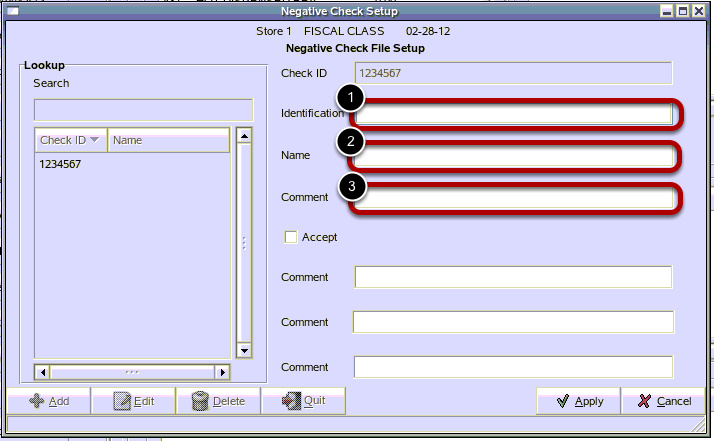 Negative Check File Setup Detail
