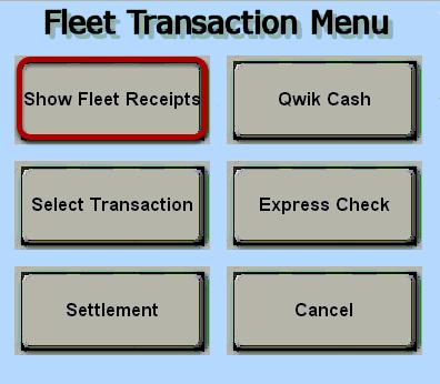Fleet Transaction Menu