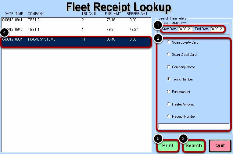 Fleet Receipt Lookup