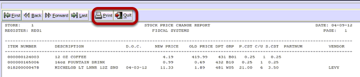 Stock Price Change Report