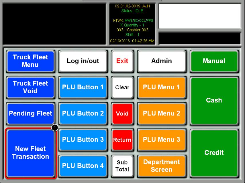 Select the New Fleet Transaction Button
