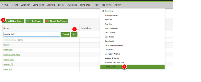 Creating a Survey Query Report
