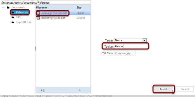 Select the Campaign Planner.pdf from the Reference folder and add a Tooltip alias. Click Insert