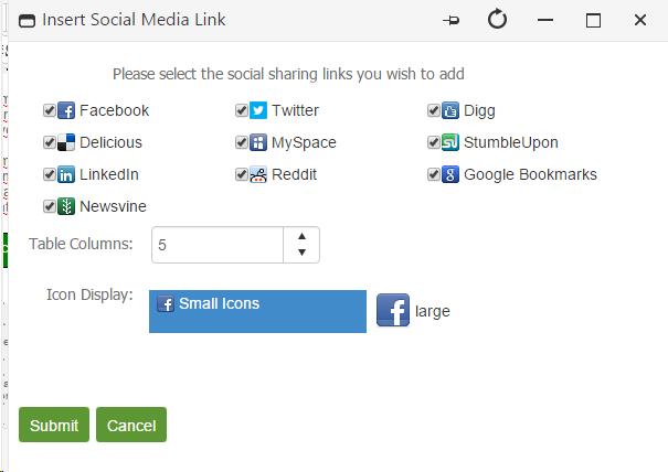 Inserting a Social Media Links
