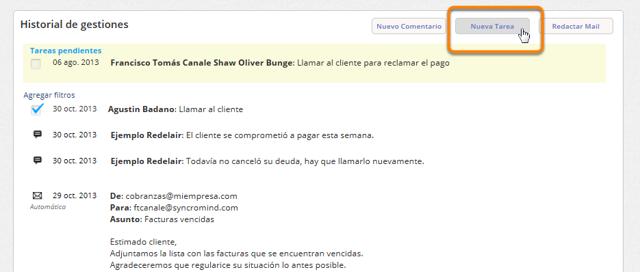 """Haz clic en el botón """"Nueva tarea"""" que se encuentra arriba de la sección de """"Historial de gestiones""""."""