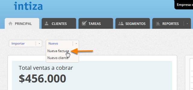 """Estando en la solapa de """"Principal"""" o """"Clientes"""" haz clic en el botón """"Cargar / Nueva Factura""""."""