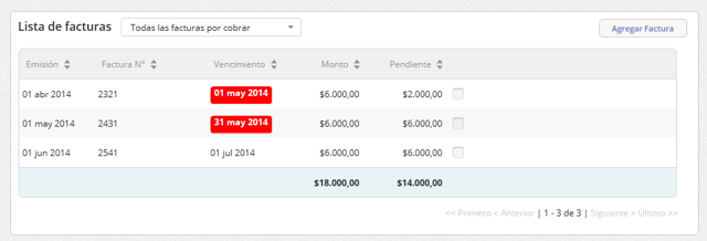 """Se abrirá la pantalla del cliente. En la """"Lista de facturas"""" haz clic en la factura a la que deseas editar o eliminar."""