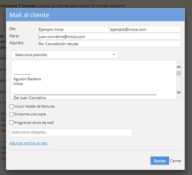 Se abrirá el email para que escribas la respuesta.