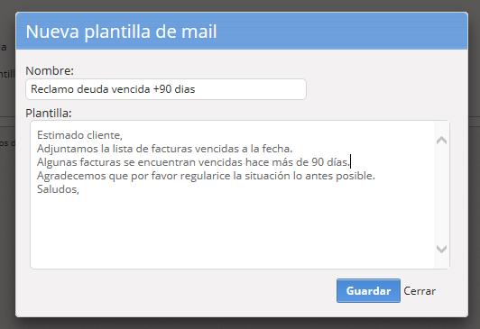 """Se abrirá una pantalla para que cargues el texto de la plantilla. Al finalizar haz clic en """"Guardar""""."""