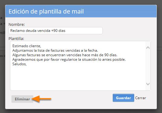 """b) Si deseas eliminarla debes hacer clic en """"Eliminar""""."""