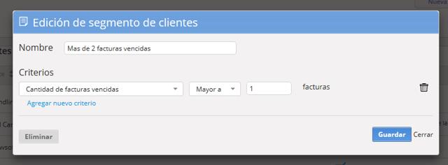 """Se abrirá una pantalla para que edites el nombre y los criterios del segmento. Al finalizar haz clic en """"Guardar""""."""