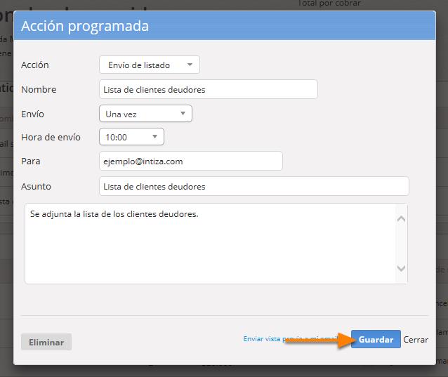 """Se abrirá el formulario para que puedas editar la acción automática. Al finalizar haz clic en """"Guardar""""."""