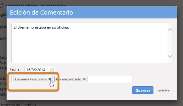 Haz clic en la cruz (X) que se encuentra al lado del nombre de la(s) etiqueta(s) que deseas remover.