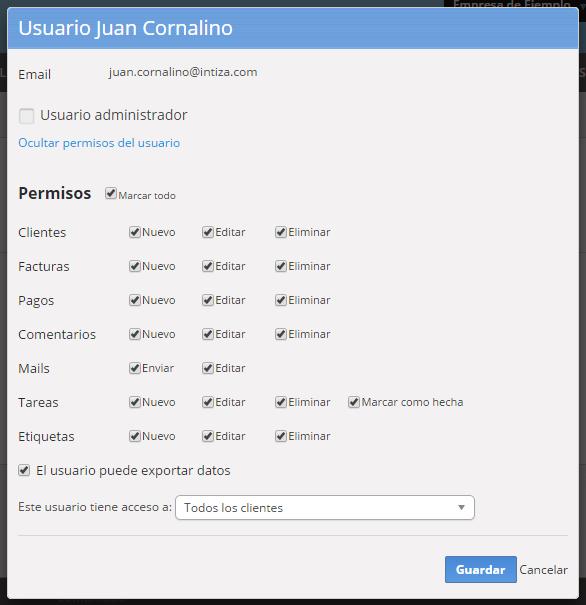 """Se abrirá una pantalla con los permisos que tiene el usuario para que los edites. Al finalizar haz clic en """"Guardar""""."""