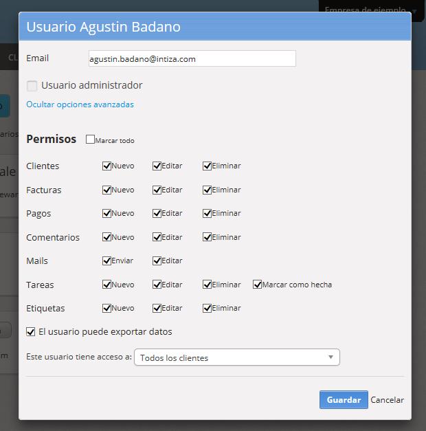 """Se mostrará la pantalla para editar los permisos del usuario. Al finalizar haz clic en """"Guardar""""."""